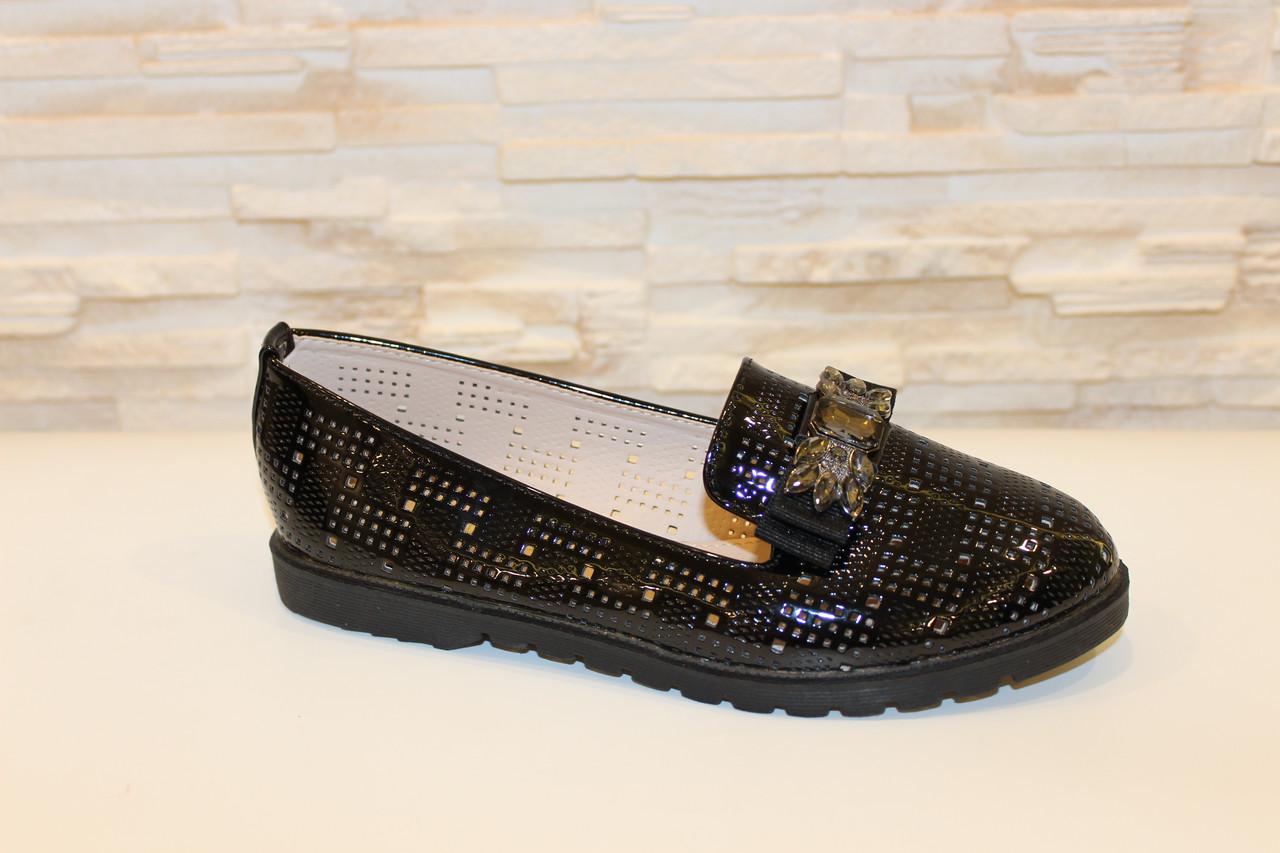 Туфли женские черные лаковые со стразами код Т243