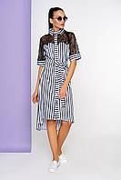 """Платье-рубашка в полоску с гипюровой вставкой """"А-152"""" (синий), фото 1"""