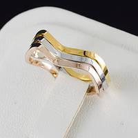 Изящное тройное кольцо с трехцветным золотым покрытием 0587