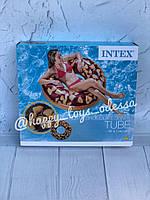 Надувной круг Intex шоколадный пончик размер 114 см От 9 лет артикул 56262