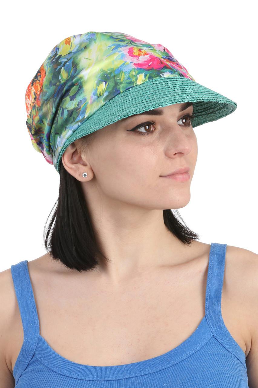 Кепка женская с соломенным козырьком зеленая