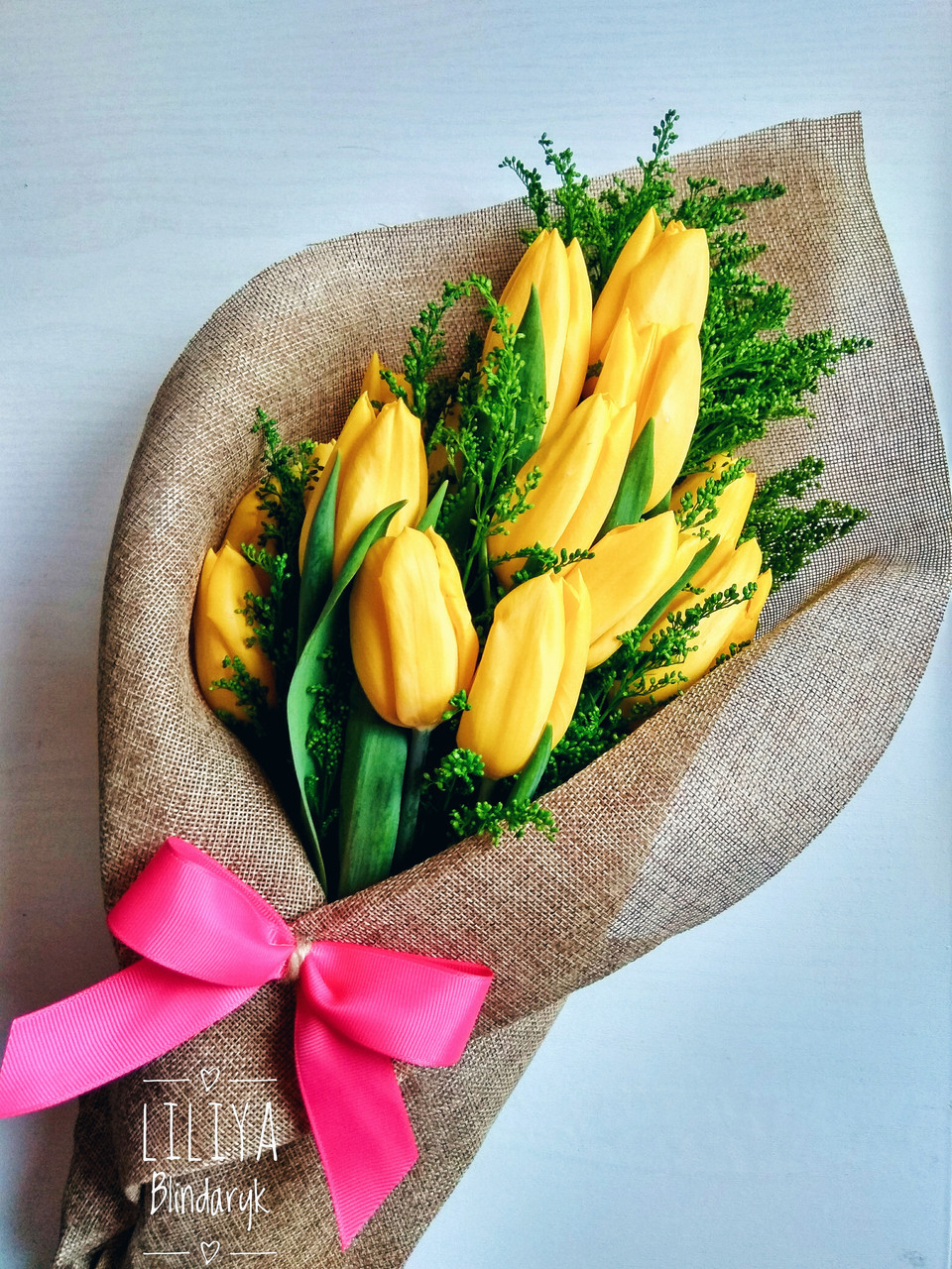 Букет 19  желтых тюльпанов