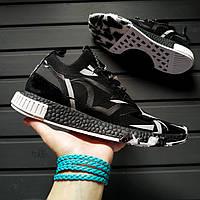 Кросівки чоловічі літні чорні трикотажні дуже легкі Adidas NMD Runner PK 44