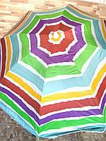 Зонт пляжный соцезощитный диам 1,8м Серебрение наклон 0081Р/2бк акварель
