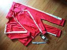Женский спортивный прогулочный костюм с белыми лампасами ткань трикотажL-ка красный, фото 2