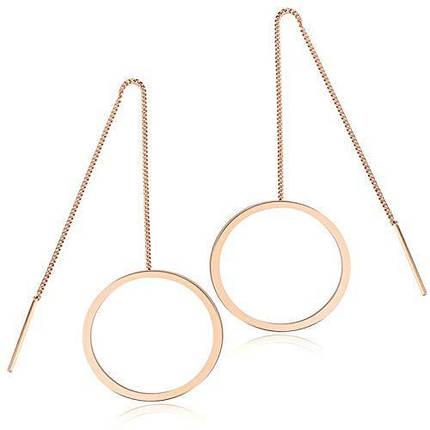 Круглые серьги-протяжки розовое золото, фото 2
