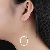 Круглые серьги-протяжки розовое золото, фото 3
