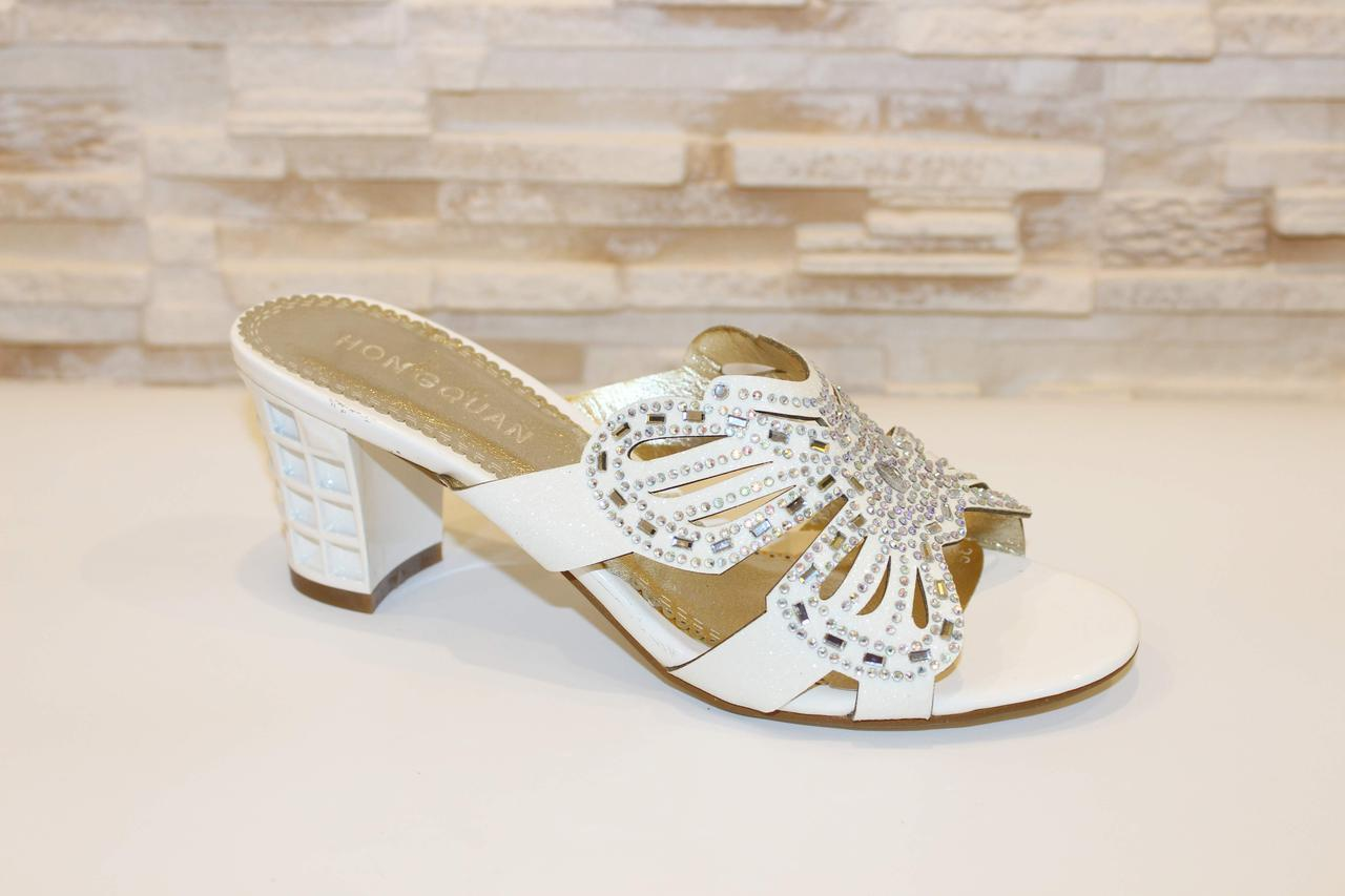Шлепанцы женские белые на каблуке Б69