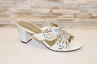 Шлепанцы женские белые на каблуке Б69, фото 1
