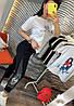 Штани на гумці з трикотажу декор: аплікація з паєтками. Розмір:З -88/90 М-90/92 Л-92/94.Різні кольори (0512), фото 2