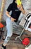 Штани на гумці з трикотажу декор: аплікація з паєтками. Розмір:З -88/90 М-90/92 Л-92/94.Різні кольори (0512), фото 9