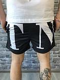 Брендові Чоловічі Шорти Бриджі Valentino чорні Якість Туреччина Люкс Стильні Валентино копія, фото 3