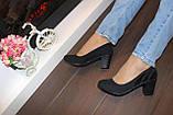Туфли женские черные замшевые на каблуке Т49 Уценка, фото 6