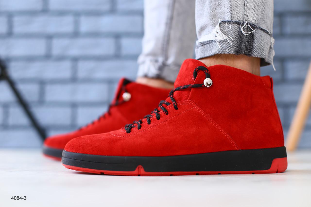 84c97eb1 Ботинки мужские замшевые, зимние, на шнурках, красные - Интернет-магазин