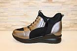 Кроссовки высокие женские черные с бронзовым Т81, фото 2