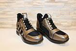 Кроссовки высокие женские черные с бронзовым Т81, фото 3