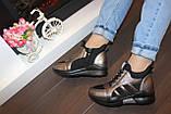 Кроссовки высокие женские черные с бронзовым Т81, фото 5