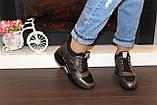 Кроссовки высокие женские черные с бронзовым Т81, фото 6