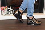 Кроссовки высокие женские черные с бронзовым Т81, фото 7