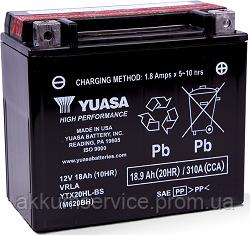Аккумулятор мото Yuasa High Performance MF 18,9 AH/270А YTX20HL-BS