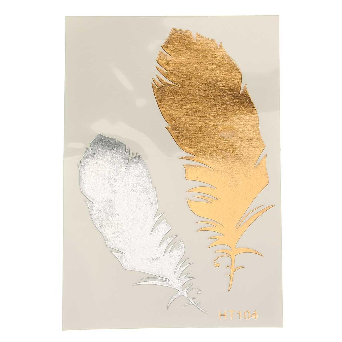 1Pcs Горячий цвет золота Индийский металлический перо птицы временное искусство тела Тату Наклейка Decal - 1TopShop