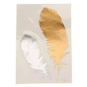 1Pcs Горячий цвет золота Индийский металлический перо птицы временное искусство тела Тату Наклейка Decal - 1TopShop, фото 2