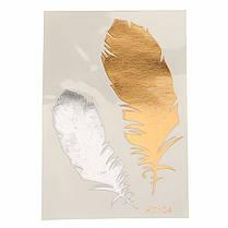 1Pcs Горячий цвет золота Индийский металлический перо птицы временное искусство тела Тату Наклейка Decal - 1TopShop, фото 3