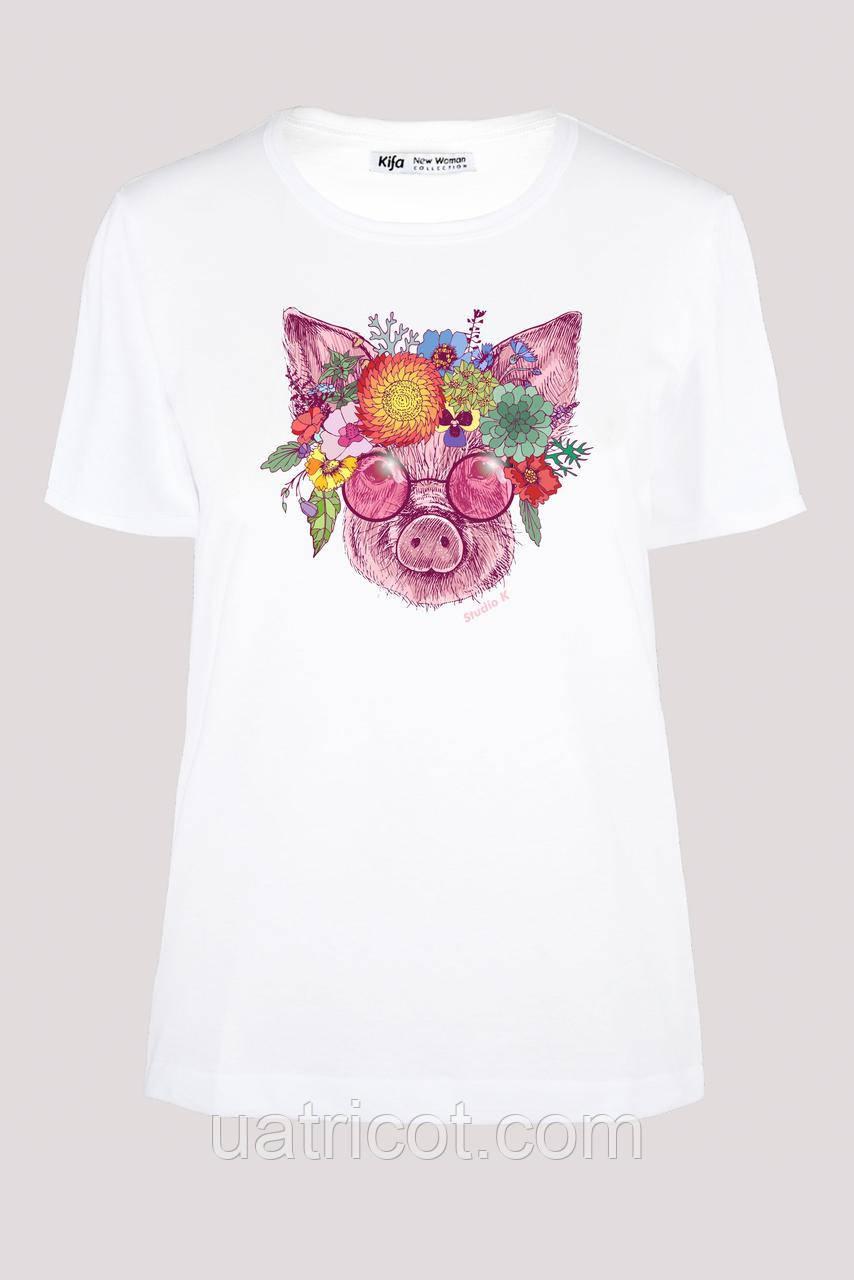 Футболка женская KIFA ФЖ-017/30 flowers PIG белая
