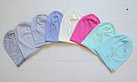 Легкие летние хлопковые однослойные шапочки чулочки. ОГ от 40 см до 54 см, фото 1