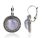 Сріблясті жіночі сережки з бузковим камінням код 1467, фото 2