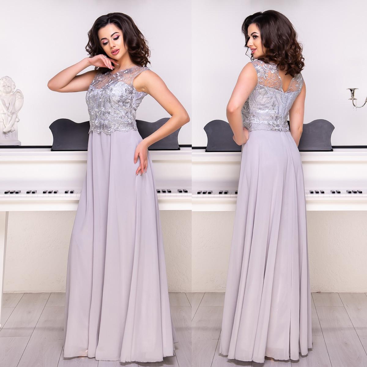 74d509ba164 Шифоновое длинное платье серебро выпускное