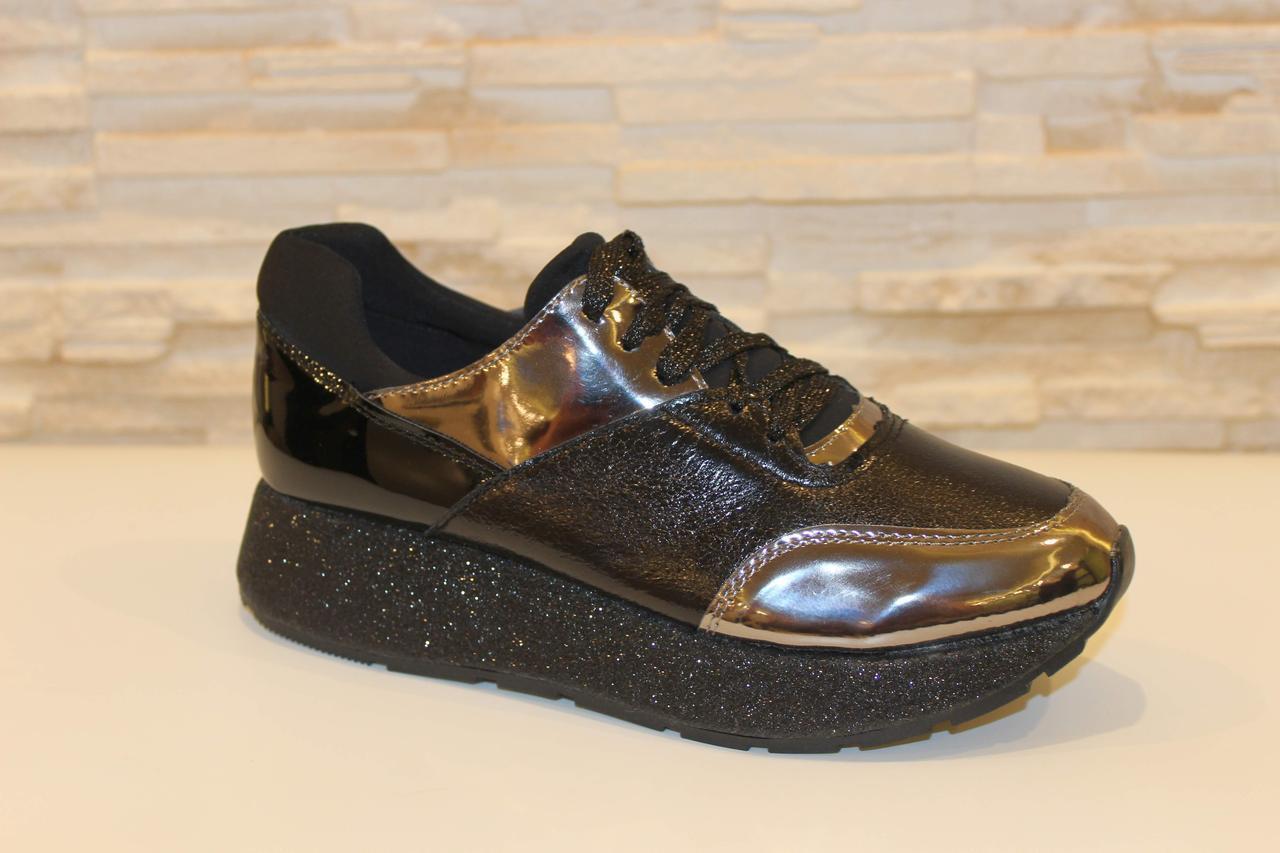 Модные кроссовки женские черные код Т137, фото 1