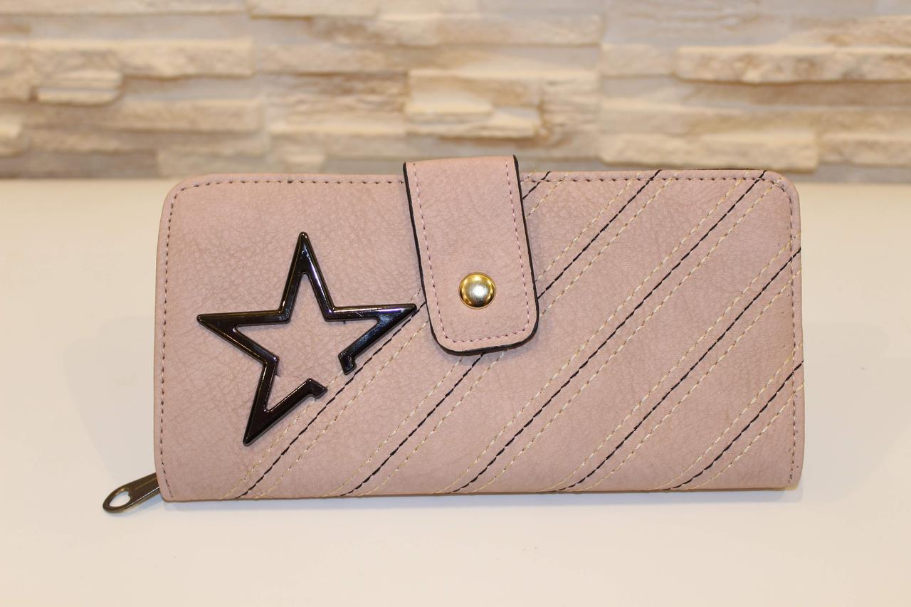 Місткий жіночий рожевий гаманець на блискавці код 285