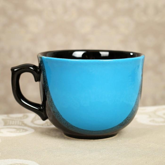 "Бульонница чашка 0,5 л ""Аппетитка"" капля чёрно-голубая"