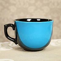 "Бульонница чашка 0,5 л ""Аппетитка"" капля чёрно-голубая, фото 1"