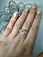 """Серебряное кольцо с золотыми накладками """"Соло"""", фото 1"""