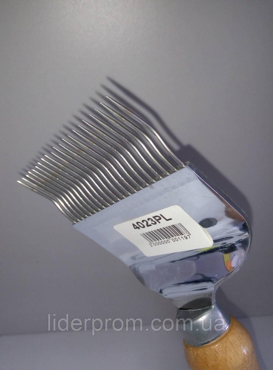 Вилка  для распечатывания  сотов 21 игла  с перегибом,нержавейка LYSON Польша