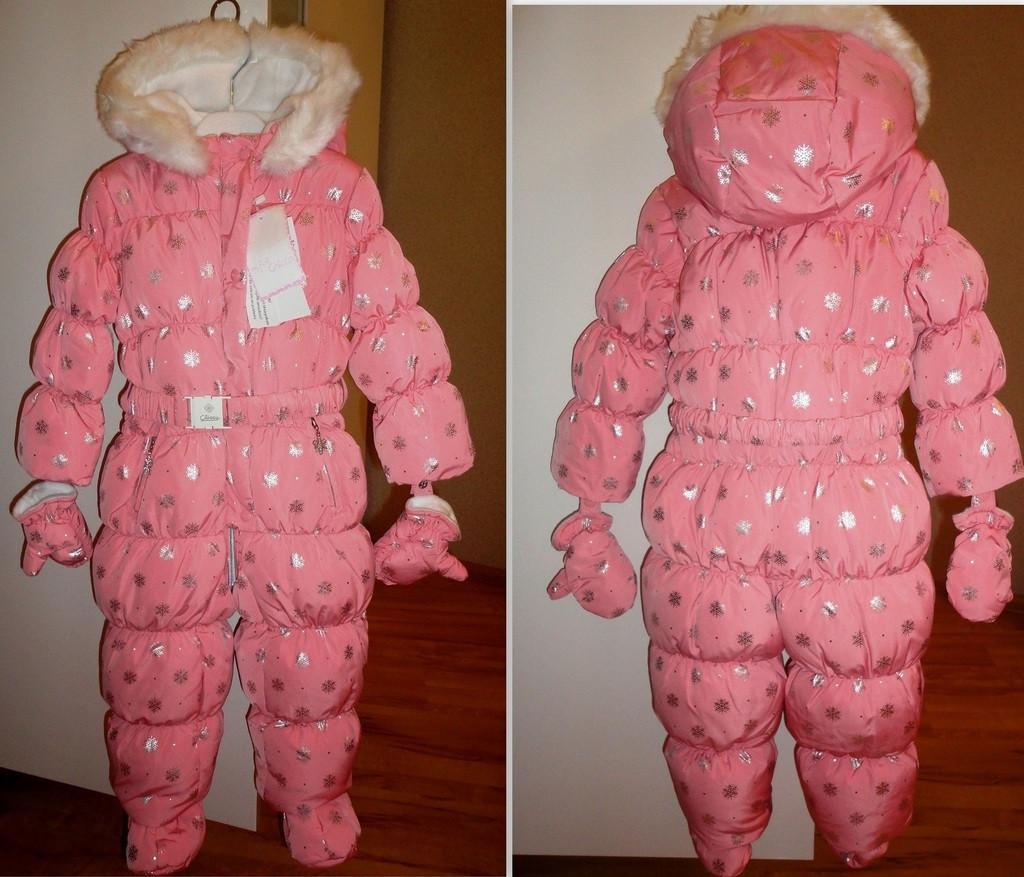 Комбінезон Chicco для дівчинки яскраво рожевий з натуральним пухом р. 62