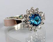 Серебряное кольцо с золотыми накладками (ch0032к)
