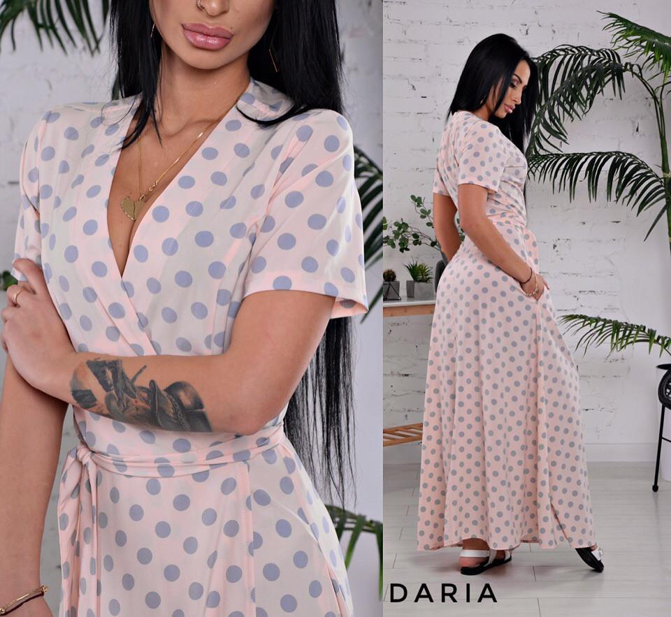 81d4ba282237d31 Купить Летнее длинное платье в горошек на запах 55032585 недорого в ...