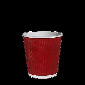 """Стакан гофрований """"Т"""" 175мл 20шт (45/900) (КР69) Червоний хвиля"""