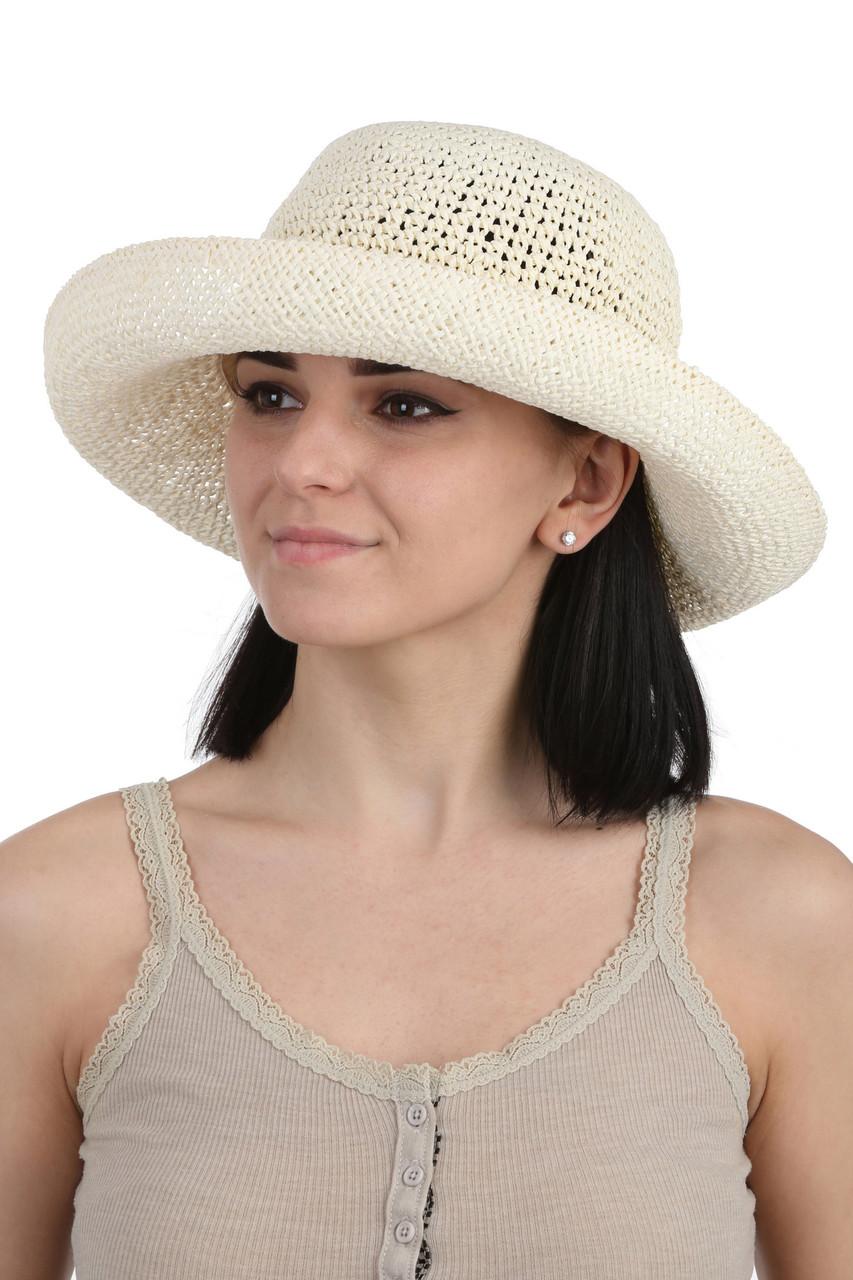 Шляпа летняя плетеная молочная