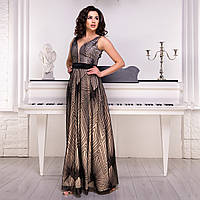 """Шикарное атласное вечернее платье в пол размер S """"Геометрия"""", фото 1"""
