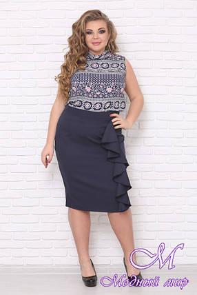 Темно-синяя женская юбка больших размеров (р. 48-90) арт. Предложение, фото 2
