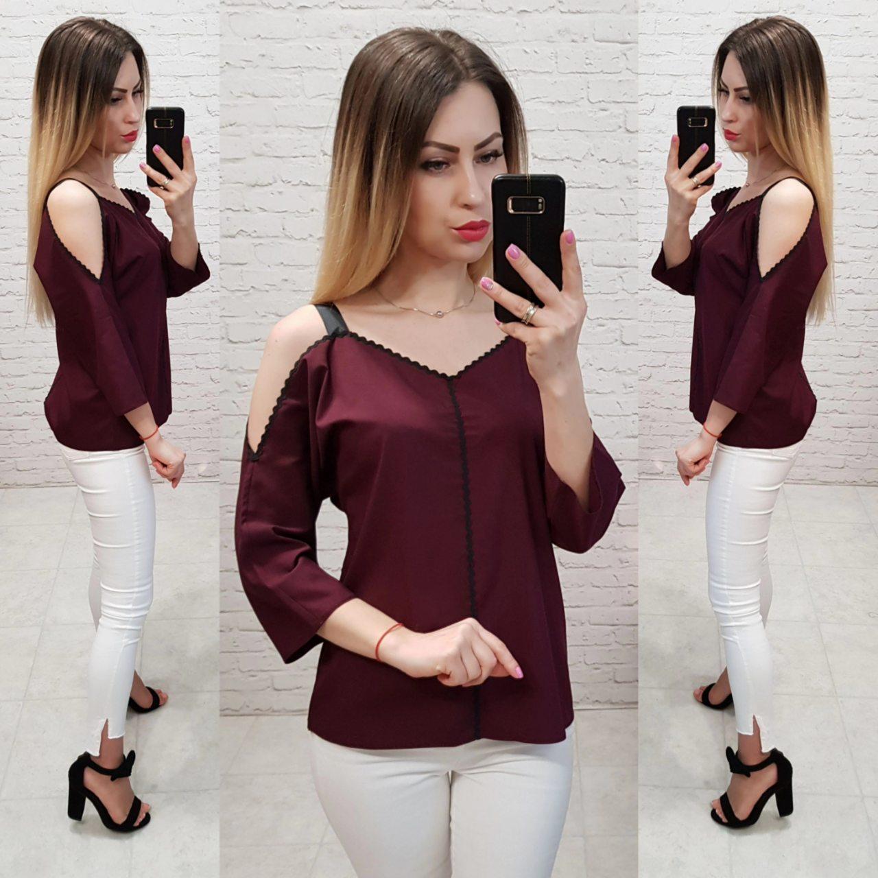 d0b47cc861a Блузка арт 159 бордовая (марсала) - Интернет магазин женской одежды Khan в  Одессе
