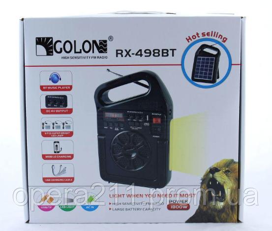 Радиоприемник GOLON RX-499 BT bluetooth с солнечное панелью