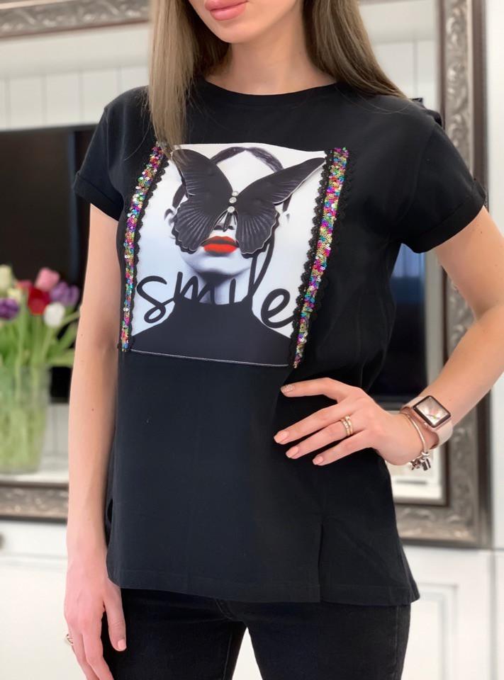 Свободная белая женская футболка с рисунком 3317191