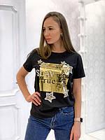 Женская прямая футболка из хлопка с рисунком 3317193, фото 1