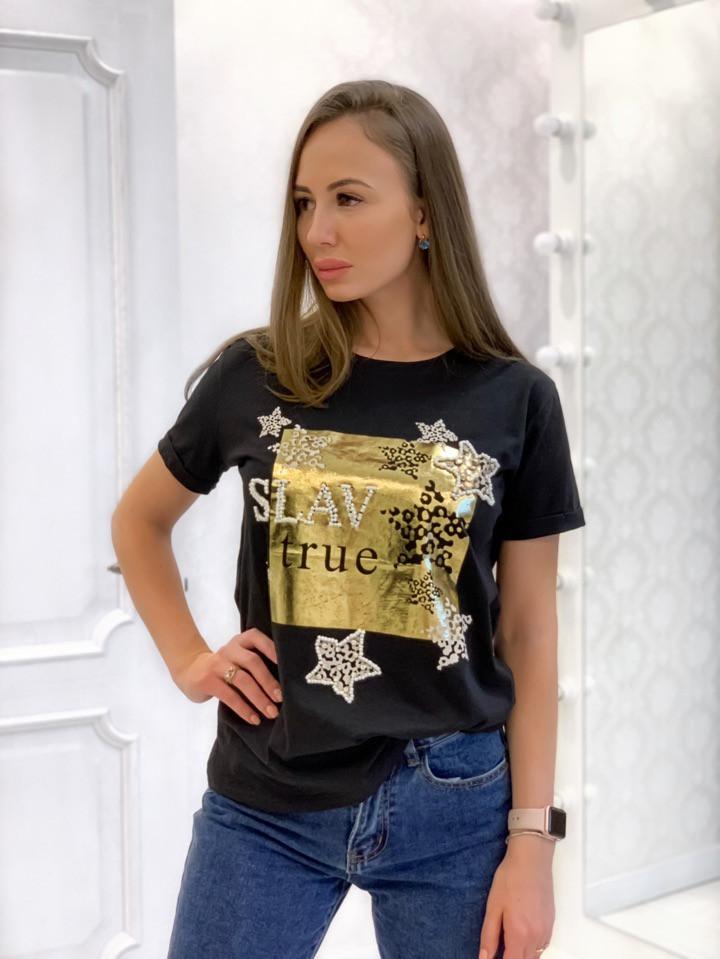 Женская прямая футболка из хлопка с рисунком 3317193