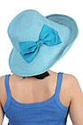 Шляпа мягкая с украшением в виде банта голубая, фото 2